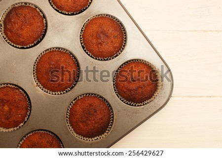 Top view on fresh baked chocolate muffins - stock photo