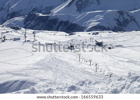Top view on ski slope. Ski resort Gudauri. Caucasus Mountains, Georgia. - stock photo