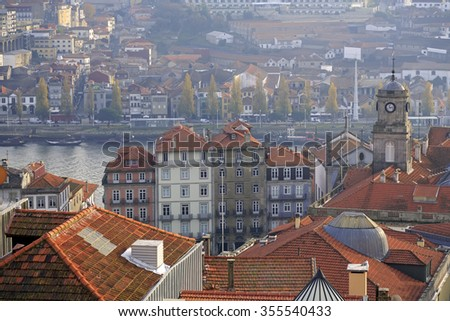 Top view on the Douro river, Bolsa palace and boats with porto wine, Portugal