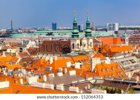 top view on the historical center of Bratislava, Slovakia - stock photo