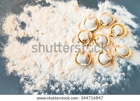 Top view on uncooked meat pelmeni lies on the gray table - stock photo