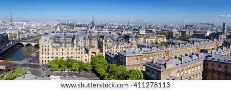 Top view over Paris from Cathedral Notre Dame, panorama image - stock photo