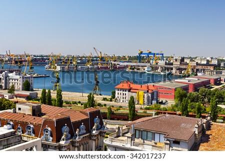 Top view over the Constanta shipyard in Romania, at Black sea - stock photo