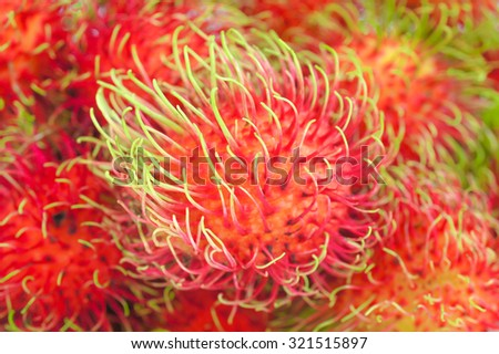 Top View Pattern of Rambutan, tropical thai fruits, with Selective Focus - stock photo