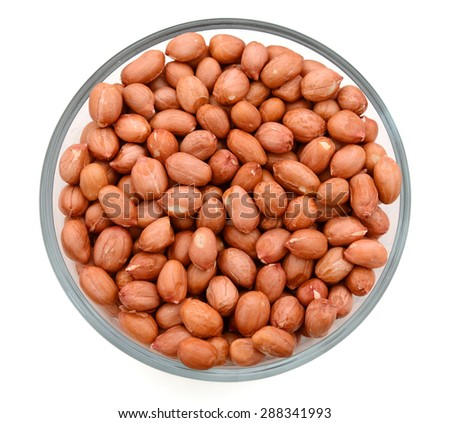 Top view: peanuts in a bowl - stock photo