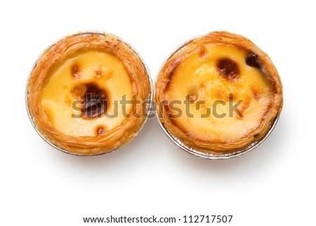 top view portuguese egg tarts - stock photo