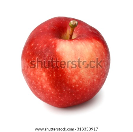 top view red apple on white background - stock photo