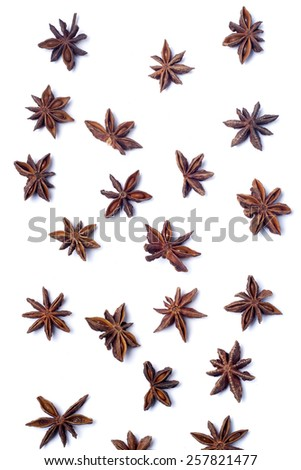 Top view row of aromatic star anise. - stock photo