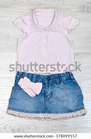 top view set of fashion trendy clothes and kids stuff for little  baby, fashion concept - stock photo