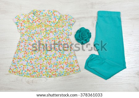 top view set of fashion trendy clothes for little  baby, fashion concept - stock photo