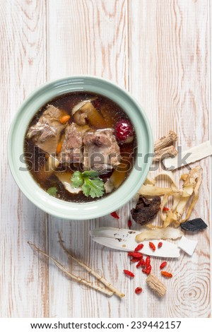 Top view, stew of pork and herbal soup, ba kut teh  - stock photo