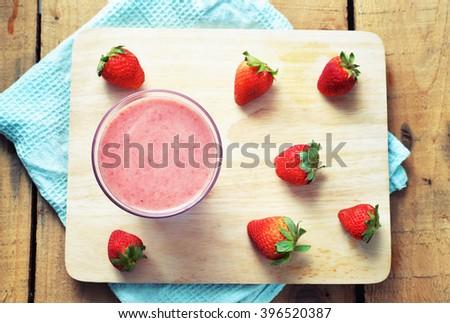 top view strawberry yogurt smoothie - stock photo
