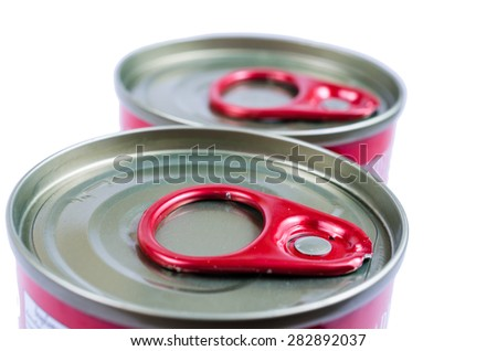 top view tin can with ring pull isolated on white background - stock photo