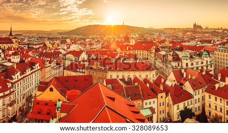 Top view to red roofs skyline of Prague city Czech republic. Illustration - stock photo