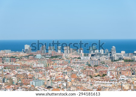 Top view to the Barcelona district El Poblenou. The district, former it was an industrial area, is new developed, now with many high-rise buildings, what gives the city a new face - stock photo