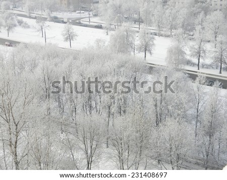 Top view to the frost trees, Kolomenskoe, Moscow, Russia. Cold winter cityscape. - stock photo