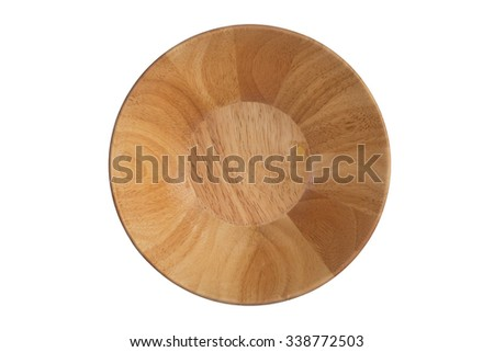 Top view, Wooden bowl isolated on white background - stock photo