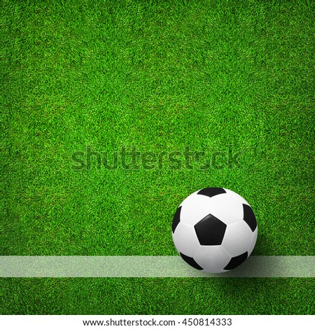 Top views of soccer ball on green grass of soccer field pattern background and texture. Soccer ball 3D illustration. - stock photo