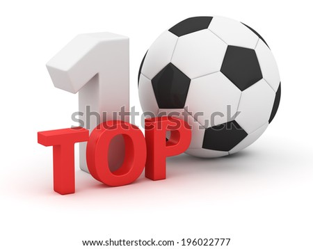 Top 10 with soccer ball on white background - stock photo