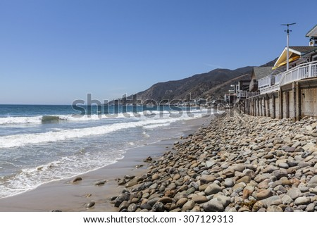 Topanga beach and ocean front homes in Malibu near Los Angeles, California. - stock photo