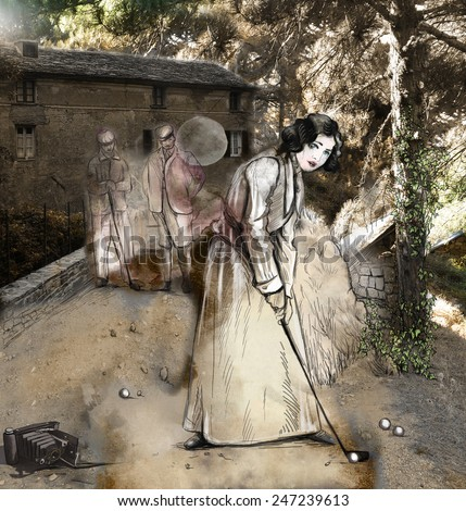 Topic: GOLF, Golfer (An Vintage Woman in front of an audience before old village house - first swinging a golf club). Mixed media plus hand drawn and painted illustrations. - stock photo