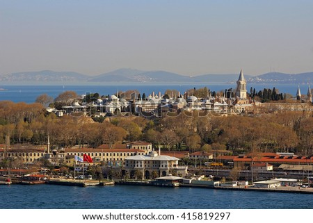 Topkapi Palace from Galata Tower, Istanbul, Turkey - stock photo