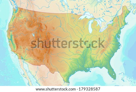 Topographic map of the USA with shaded relief and elevation colors. Elements of this image furnished by NASA. - stock photo