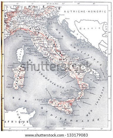 Topographical Map of Modern Italy, vintage engraved illustration. Dictionary of Words and Things - Larive and Fleury - 1895 - stock photo