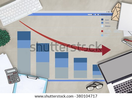 Topview Business Finance Graph Statistics Concept - stock photo