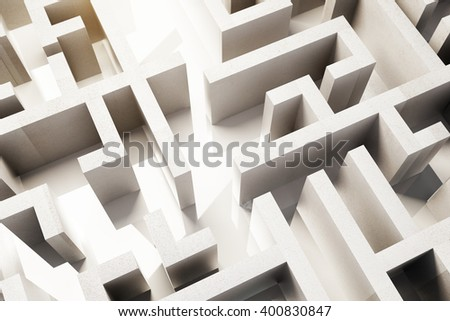 Topview of concrete maze. 3D Rendering - stock photo
