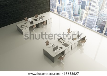 Topview of light grey office interior with glossy floor, city view and sunlight. 3D Rendering - stock photo