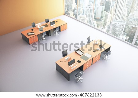 Topview of orange office interior with city view and sunlight. 3D Rendering - stock photo