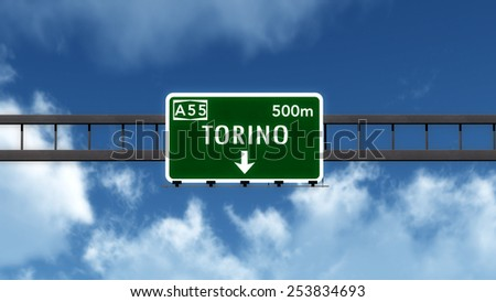 Torino Germany Highway Road Sign 3D Illustration - stock photo