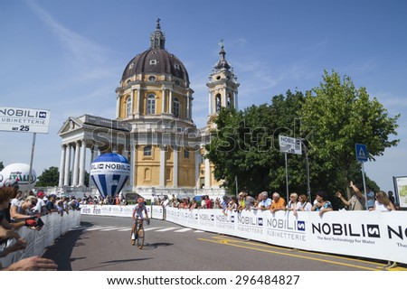 TORINO, ITALY - JUNE 27, 2015. Images from the edition of the Cycling Italian Championship 2015 ,departure from Legnano and arrival in Torino, up at the famous Superga Cathedral.  - stock photo