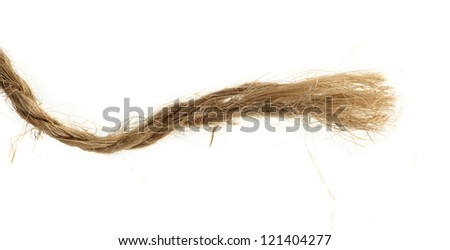 Torn broun natural hemp rope - stock photo