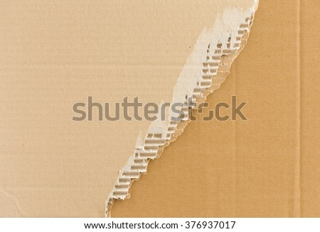 Torn corrugated cardboard background with place for text. Industrial, logistic, delivery, post concept. Abstract background for web design, printables, scrapbooking. - stock photo