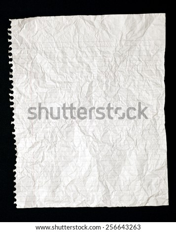 Torn Crinkled Paper Lined - stock photo
