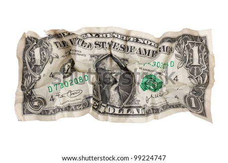 Torn crumpled dollar on a white background - stock photo