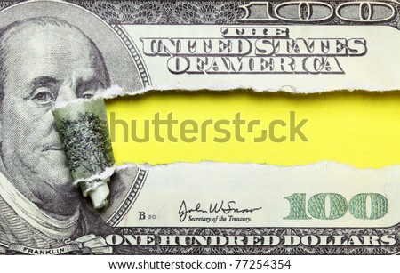 Torn dollars banknote with space for your own text - stock photo