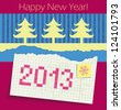 Torn exercise book in the box with the date 2013 painted. Applique of cut Christmas trees and colored paper. Congratulations on the new year. raster version - stock photo