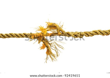 Torn gold rope isolated on white - stock photo