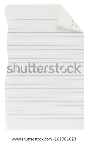 Torn lined paper with path - stock photo