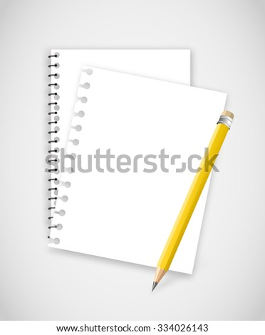 Torn notebook pages with pencil - stock photo