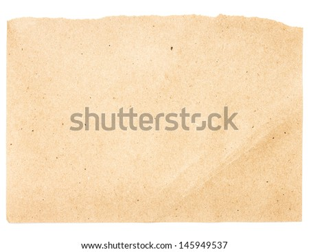 Torn Notepaper recycled beige paper cardstock texture as background - stock photo