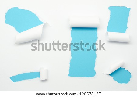 Torn Paper and space for text with blue background - stock photo