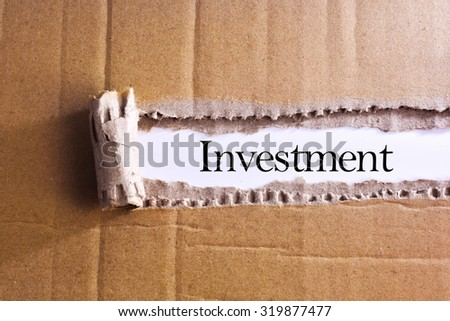 Torn paper box with word Investment  - stock photo