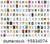 Torn paper font vector. Upper and lower case, numbers and symbols - stock photo