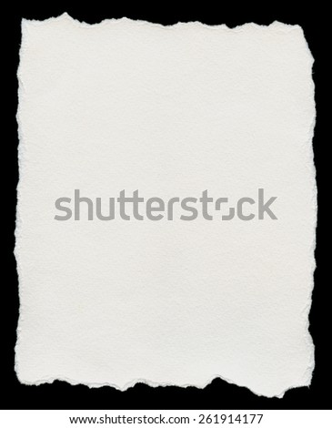 Torn Paper, isolated on black background. - stock photo