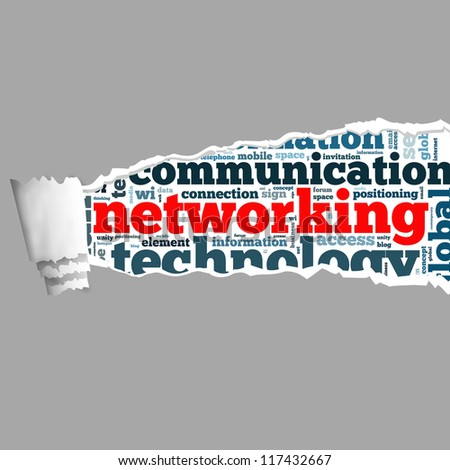 Torn Paper networking with info-text graphics and arrangement concept on white background (word cloud) - stock photo