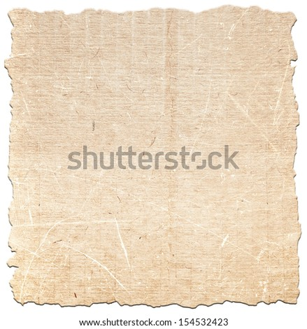 Torn paper texture on white background - stock photo